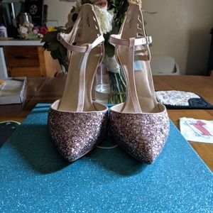 Betsey Johnson Blue sparkle blush heels